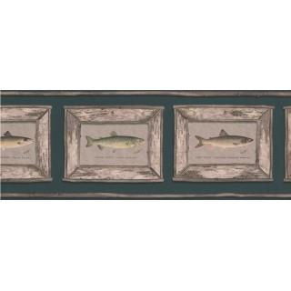 9 in x 15 ft Prepasted Wallpaper Borders - White Framed Atlantic Salmon Wall Paper Border