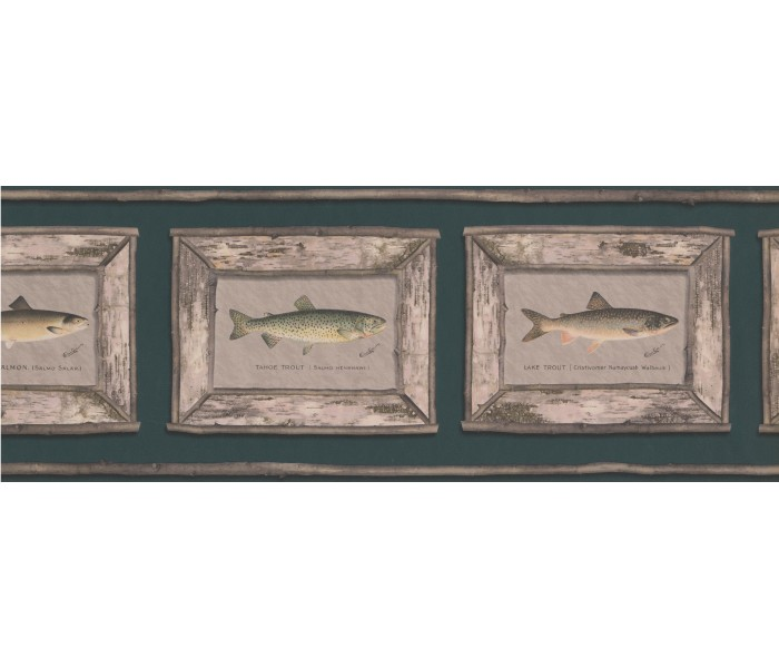 Fishing Wallpaper Borders: White Framed Atlantic Salmon Wallpaper Border