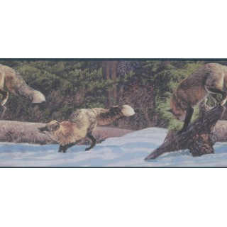 10 in x 15 ft Prepasted Wallpaper Borders - Arctic Icy Fox Wall Paper Border
