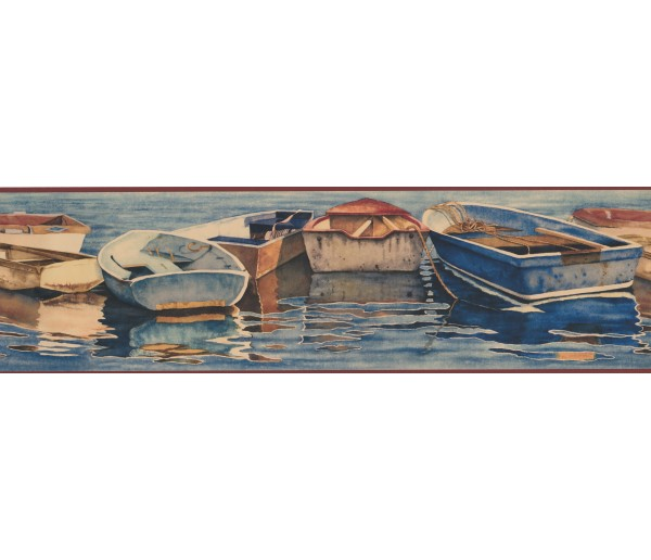 Landscape GBoats in the lake Wallpaper Border