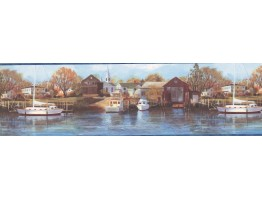 Northern Harbor Scenic Sea Wallpaper Border