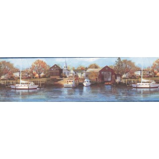 6 3/4 in x 15 ft Prepasted Wallpaper Borders - Northern Harbor Scenic Sea Wall Paper Border
