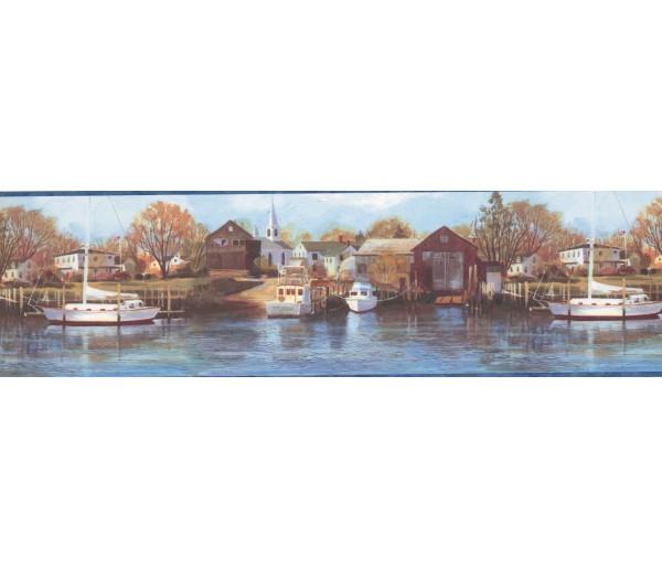 Lodge Wallpaper Borders: Northern Harbor Scenic Sea Wallpaper Border