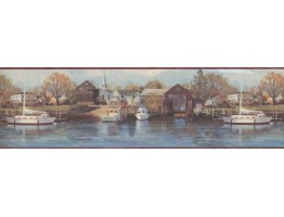 Boat yard scenery Wallpaper Border