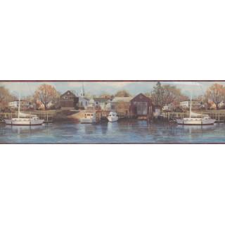 7 in x 15 ft Prepasted Wallpaper Borders - Boat yard scenery Wall Paper Border