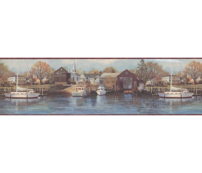 Landscape Wallpaper Borders: Boat yard scenery Wallpaper Border