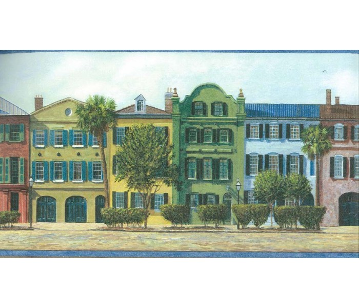 City Wallpaper Borders: City Street Buildings Wallpaper Border