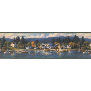 6 1/2 in x 15 ft Prepasted Wallpaper Borders - Green Lake Houses Forest Wall Paper Border