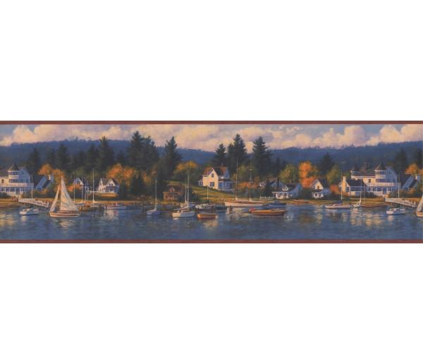 Lodge Bordo Lake Houses Forest Wallpaper Border York Wallcoverings