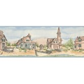 Clearance: Grey Old Houses Wallpaper Border