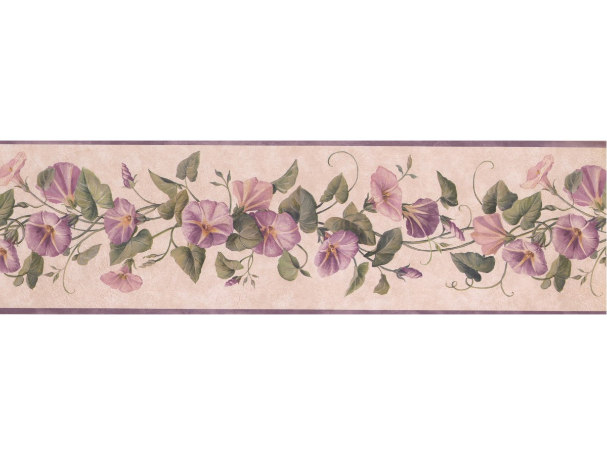 Vintage Purple White Flowers Lg3326b Wallpaper Border For Walls