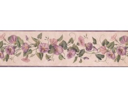 6 3/4 in x 15 ft Prepasted Wallpaper Borders - Lavender DW30083B Floral Wall Paper Border