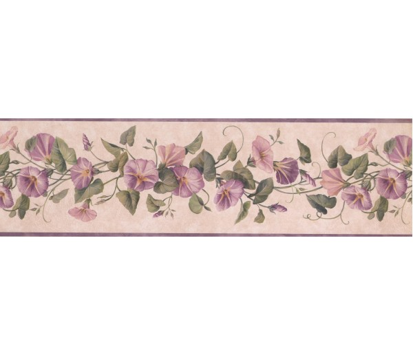 Prepasted Wallpaper Borders - Lavender DW30083B Floral Wall Paper Border