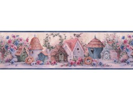 Blue Flowers And Bird Houses Wallpaper Border