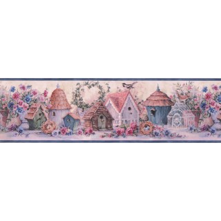 6 3/4 in x 15 ft Prepasted Wallpaper Borders - Blue Flowers And Bird Houses Wall Paper Border