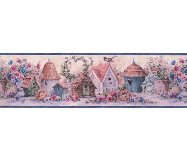 Bird Houses Blue Flowers And Bird Houses Wallpaper Border