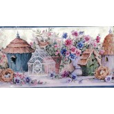 Bird Houses Blue Flowers And Bird Houses Wallpaper Border York Wallcoverings