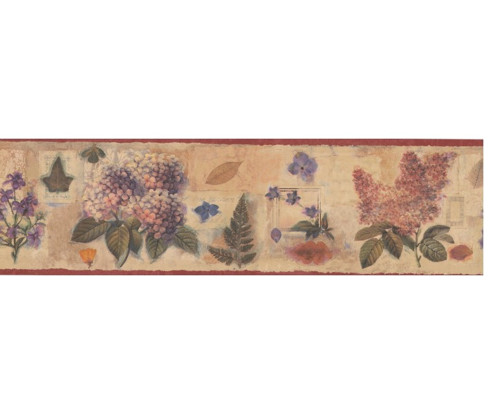 Clearance: Red Cream Floral Stamps Wallpaper Border