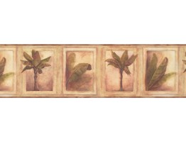 6 3/4 in x 15 ft Prepasted Wallpaper Borders - Beige Tropical Palm Tree Wall Paper Border