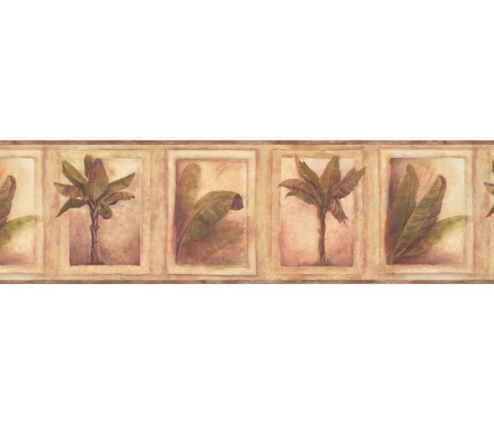 Tropical Wallpaper Borders: Beige Tropical Palm Tree Wallpaper Border