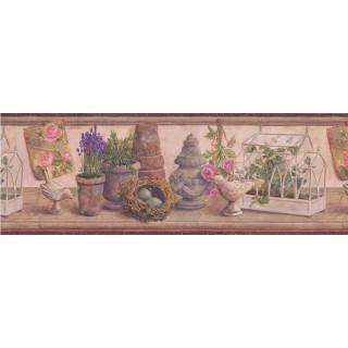 8 in x 15 ft Prepasted Wallpaper Borders - Bordo Wooden Plant Garden Figures Wall Paper Border