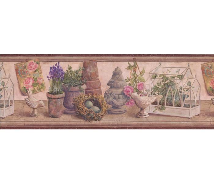 Garden Wallpaper Borders: Bordo Wooden Plant Garden Figures Wallpaper Border