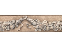 Prepasted Wallpaper Borders - Taupe Flower and Fruit Vine Wall Paper Border