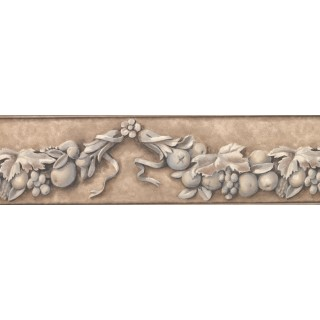 6 3/4 in x 15 ft Prepasted Wallpaper Borders - Taupe Flower and Fruit Vine Wall Paper Border