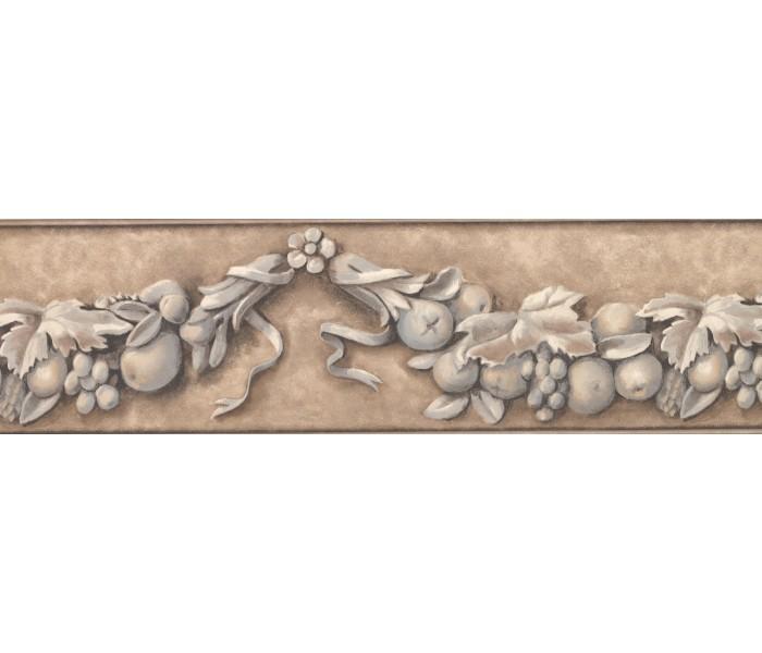 Garden Wallpaper Borders: Taupe Flower and Fruit Vine Wallpaper Border