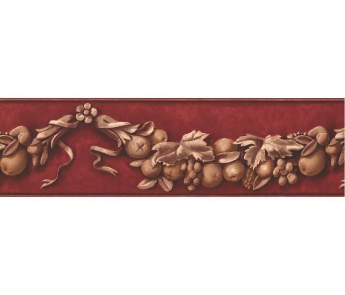 Garden Wallpaper Borders: Red Flower and Fruit Vine Wallpaper Border