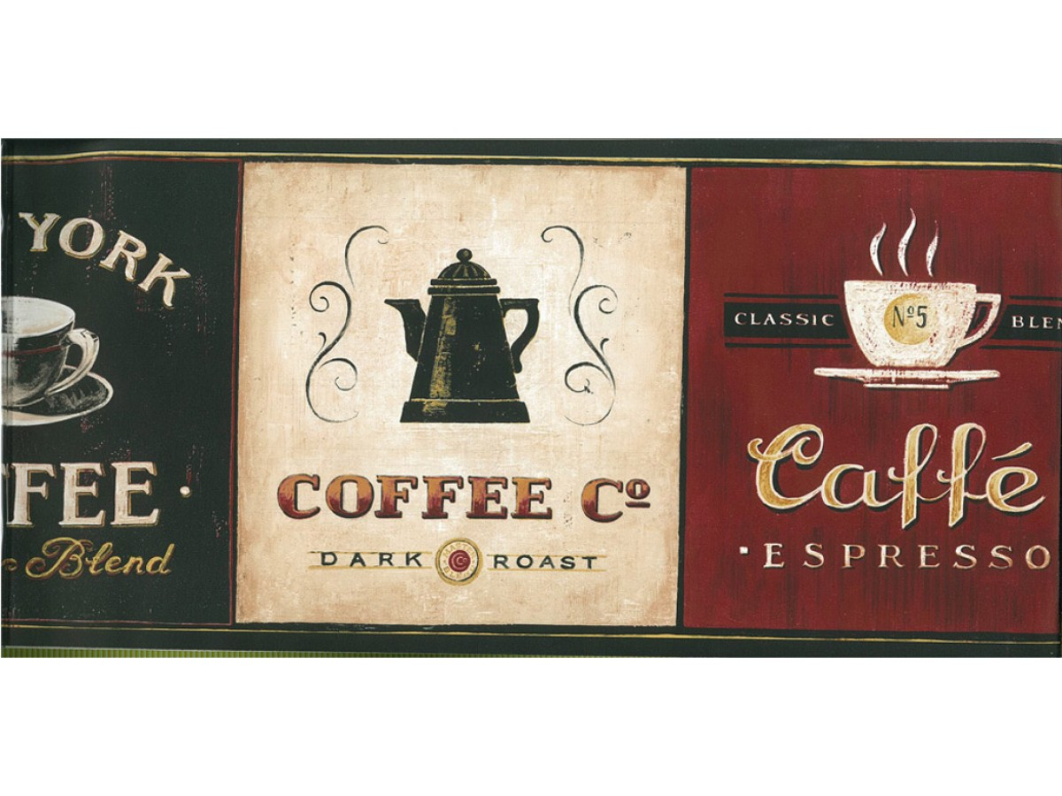 Prepasted Wallpaper Borders - Kitchen Wall Paper Border Coffee EB8900