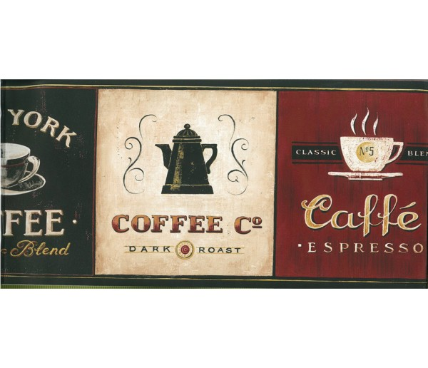 Kitchen Borders Kitchen Wallpaper Border Coffee EB8900 York Wallcoverings