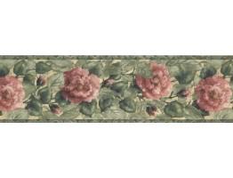 Prepasted Wallpaper Borders - Pink Roses Wall Paper Border