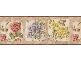 Prepasted Wallpaper Borders - Frame Blue Yellow Tiny Flowers Wall Paper Border