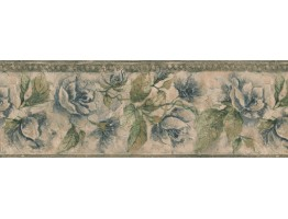 Prepasted Wallpaper Borders - Green Leaf Blue Roses Wall Paper Border