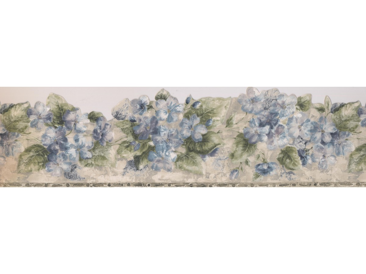 Green Silver Blue Floral Wallpaper Border