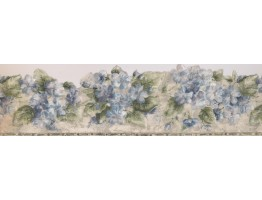 Prepasted Wallpaper Borders - Green Silver Blue Floral Wall Paper Border