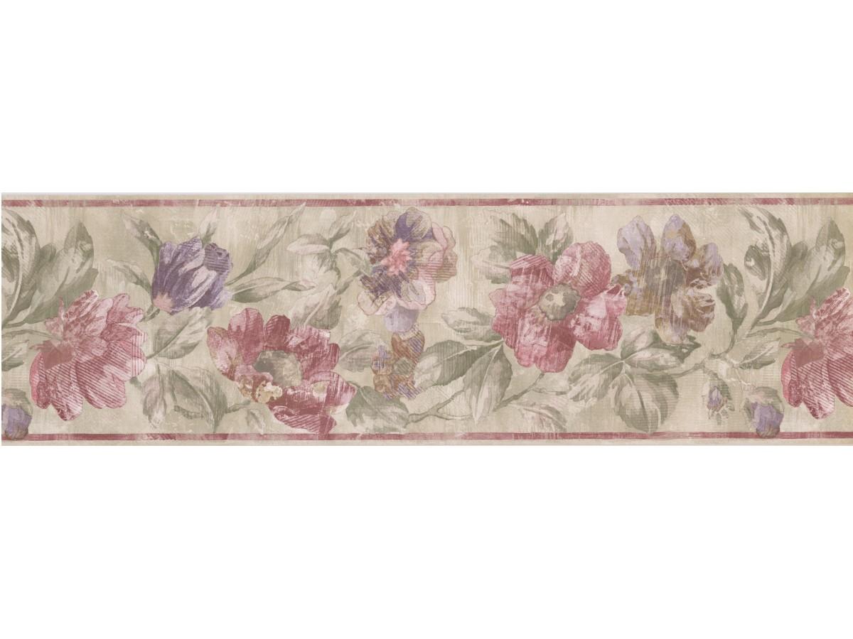 Cream Red Striped Floral Wallpaper Border