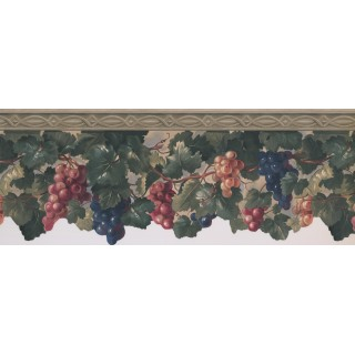 9 in x 15 ft Prepasted Wallpaper Borders - Grapes Wall Paper Border