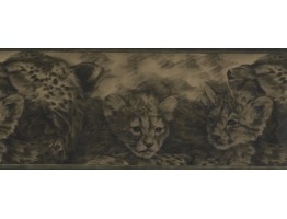 Olive Green Cheetah Cubs Wallpaper Border