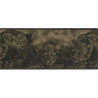 10 in x 15 ft Prepasted Wallpaper Borders - Olive Green Cheetah Cubs Wall Paper Border