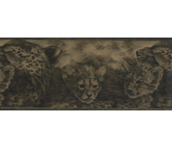 Cats Wallpaper Borders: Olive Green Cheetah Cubs Wallpaper Border