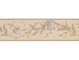 Prepasted Wallpaper Borders - Floral Wall Paper Border 4434EY