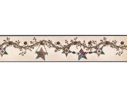 Prepasted Wallpaper Borders - Hanging Brown Star Wall Paper Border