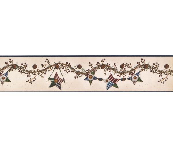 Prepasted Wallpaper Borders - Hanging Brown Star Wall Paper Border