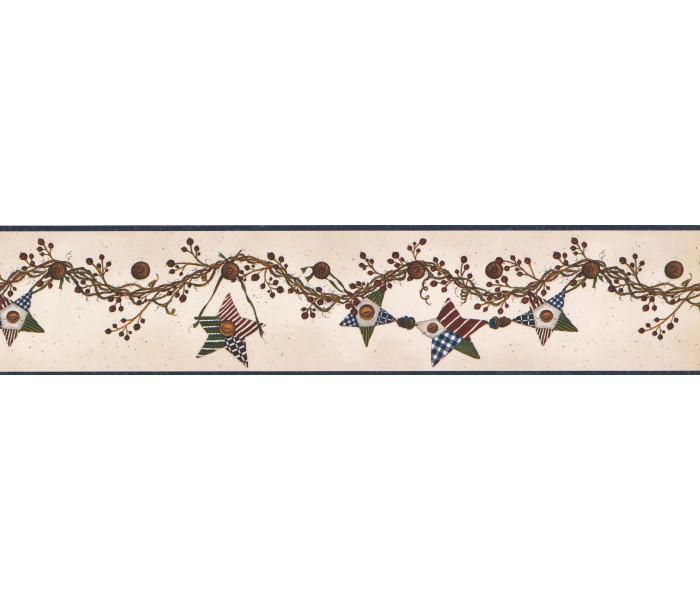 Sun Moon Stars Wall Borders: Hanging Brown Star Wallpaper Border