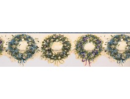Prepasted Wallpaper Borders - Gree Flower Rings Wall Paper Border