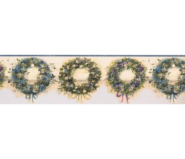 Garden Wallpaper Borders: Gree Flower Rings Wallpaper Border