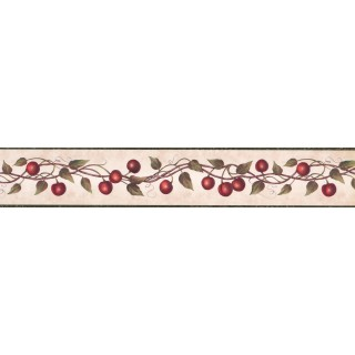4 in x 15 ft Prepasted Wallpaper Borders - Red Cherries Wall Paper Border