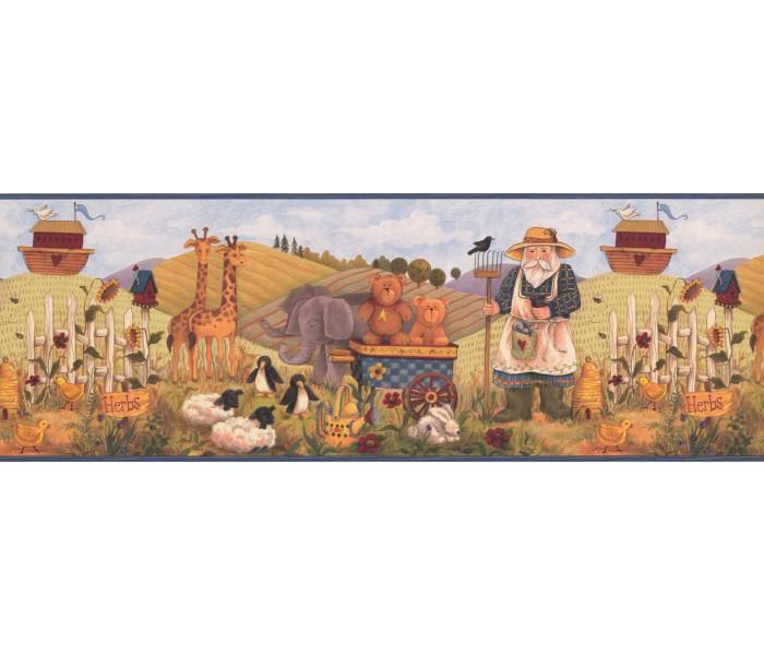 Toys Wallpaper Borders: Blue Noah s Garden Wallpaper Border